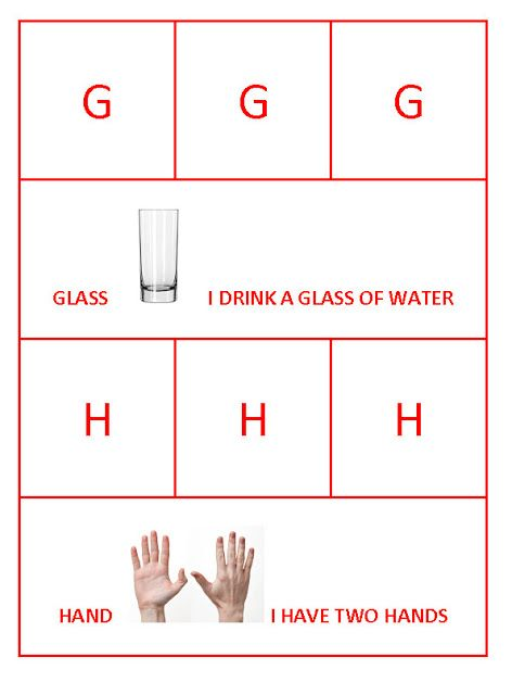 G for glass and h for hand bahasa inggris pinterest stopboris Choice Image
