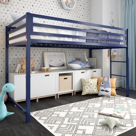 Dhp Miles Metal Junior Twin Loft Bed Blue Walmart Com Junior