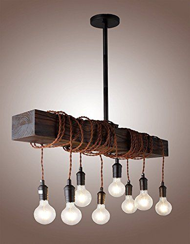 32 Vintage Rustic Wood Beam Pendant Light Antique Decor Chandelier Perfect For Kitchen Bar Farmhouse Indust Wooden Light Pendant Light Antique Decor