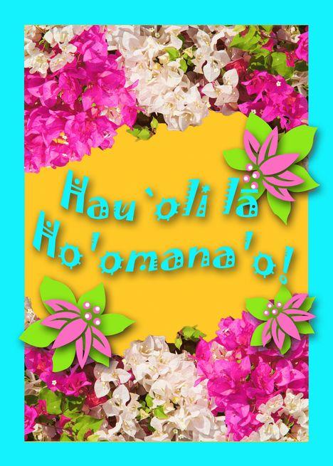 Happy Anniversary In Hawaiian Bougainvillea Flowers Card Thank