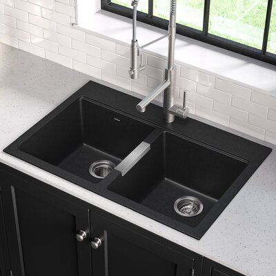 Kraus Quarza 33 L X 22 W Double Basin Dual Mount Kitchen Sink