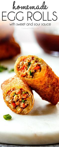 Egg Rolls with Sweet and Sour Sauce and the PERFECT crispy appetizers and SO easy with my food processor technique! #pork #appetizer #takeout #chinese #eggrolls #dimsum #chinesefood #partyfood #gamedayfood #easyrecipe #recipes #recipeoftheday #recipeideas #recipeseasy #christmasrecipes via @carlsbadcraving Egg Rolls with Sweet and Sour Sauce and the PERFECT crispy appetizers and SO easy with my food processor technique! #pork #appetizer #takeout #chinese #eggrolls #dimsum #chinesefood #partyfood