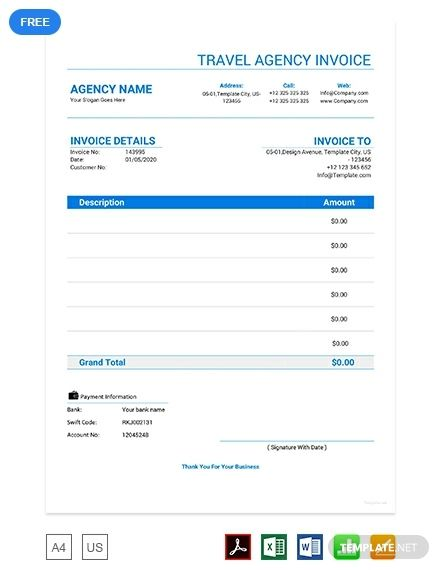 Travel Agency Invoice Template Free Pdf Travel Agency Traveling By Yourself Invoice Template