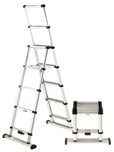 Telesteps 10es Osha Compliant 10 Ft Reach Professional Wide Step Telescoping A Frame Ladder Telesteps Step Ladders Combination Ladders