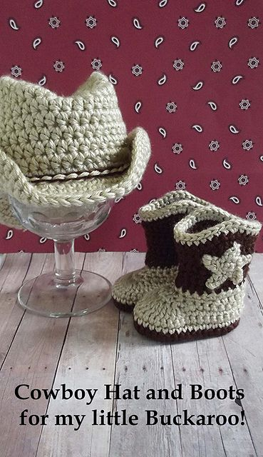 omgosh.  crocheted cowboy hat and boots for a baby!!  LOVE it!!!  http://www.ravelry.com/patterns/library/cowboy-hat-and-boots-set