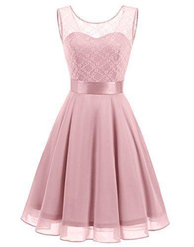 Berylove Womens Short Floral Lace Bridesmaid Dress A Line