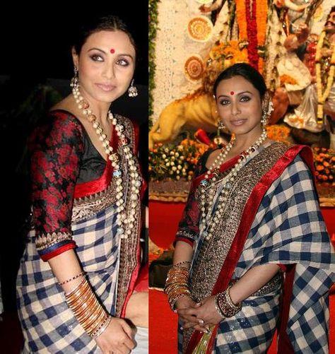 Durga Puja Celebrations in Sabyasachi Rani Mukherjee in 30 of her Best Looks Rani Mukherjee 30 Best Looks