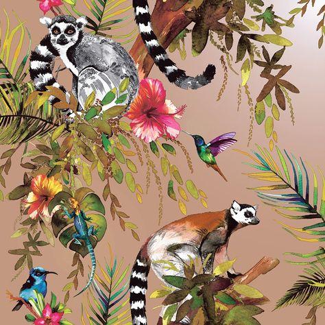 Madagascar Wallpaper Metallic Gilver
