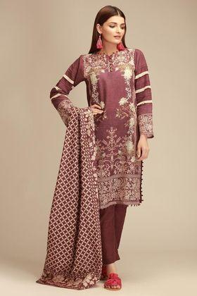 3 Pcs Pakistani Indian Kameez Salwar Kotail Fabric Not Khaadi Winter Suit M