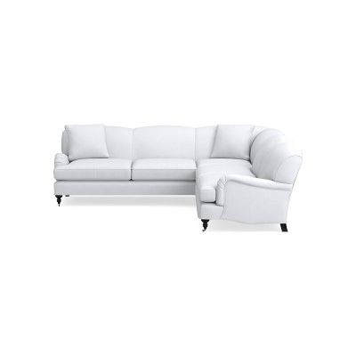 Bedford Sectional Right 2 Piece L Shape Sofa Standard Cushion Classic Linen White Ebony Leg L Shaped Sofa Furniture Sale Sofa