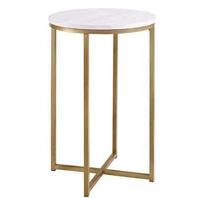 Classy Yet Convenient This Andromeda Round End Table Is Sure To Add An Extra Element Of Elegance In Your Round Side Table Round Metal Side Table Saracina Home