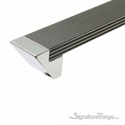 Black Laminate With Aluminum Pinstripes Chrome End Caps Handles