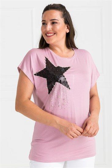 Yildiz Tasli T Shirt Pembe Butik Model Pembe