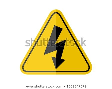 Isolated Warning Sign Of High Voltage On Yellow Round Triangular Board With Black Margin Line Paperwork Flat Vector Design