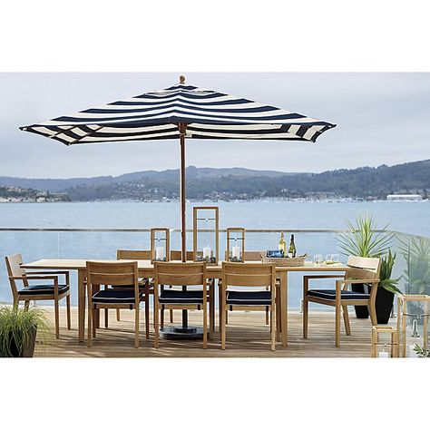 A Striped Rectangle Patio Umbrella $459 is the perfect way to add style and shade to an outdoor dining table. Made with Sunbrella ® acrylic fabric.