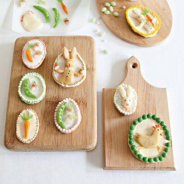 Des biscuits décorés de légumes en pâte d'amande // biscuit, marzipan, vegetable, animals, cute, food