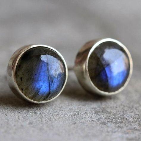 Buy Natural Labradorite earrings, Stud earrings, Silver ear studs Online at aStudio1980.com