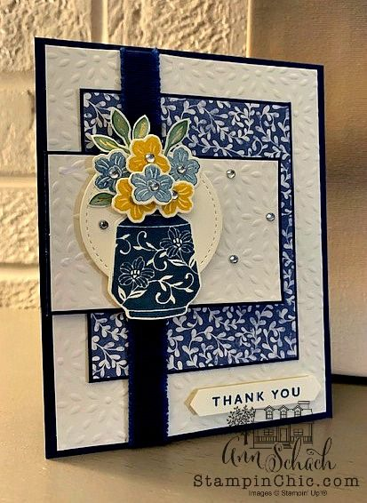 Boho Indigo Floral Thank You Card - The Stampin' Schach Make Your Own Card, Embossed Paper, Cool Cards, 3d Cards, Stampin Up Catalog, Stamping Up Cards, Card Kit, Catalogue, Card Sketches