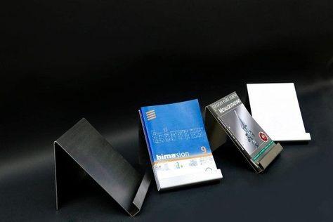7 Tisch Prospekthalter aus 2 mm Edelstahlblech für DIN A 4