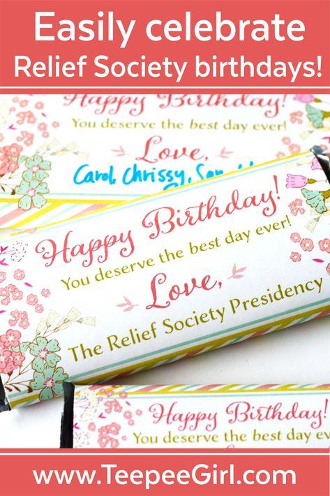 Relief Society Birthday Chocolate Candy Bar Wrapper - Easy Birthday Gift  #Bar #Birthday #Candy #Chocolate #Easy #Gift #Relief #society #Wrapper