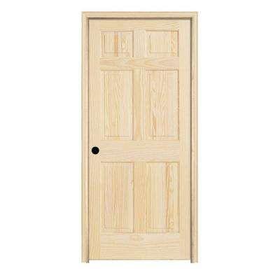 28 In X 78 In Pine Unfinished Right Hand 6 Panel Wood Single Prehung Interior Door W Split Jamb Prehung Interior Doors Prehung Doors Solid Wood Interior Door