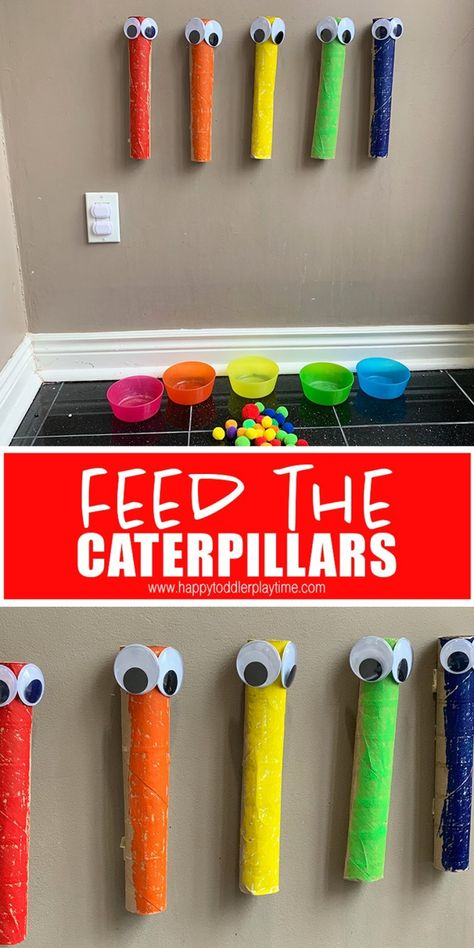 Feed the Caterpillars: Pom Pom Drop - HAPPY TODDLER PLAYTIME : Feed the caterpillar pom pom drop is a fun twist on the classic pom pom drop activity for toddlers. This is the BEST indoor activity for spring! Sorting Activities, Preschool Learning Activities, Indoor Activities, Infant Activities, Kids Learning, Summer Activities, Sensory Activities For Toddlers, Educational Crafts For Toddlers, Young Toddler Activities