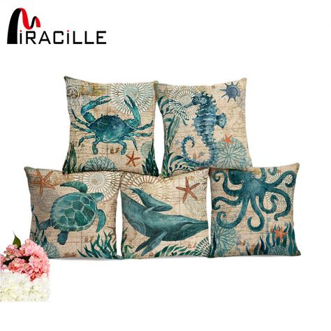 Ocean Sea Printed Linen Pillow Case Bed