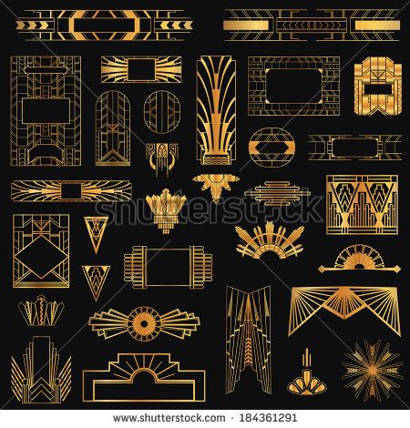 Art Deco Vintage Frames and Design Elements - in vector - stock vector