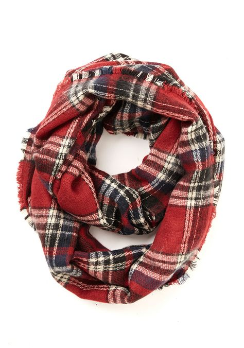 Campus Chill Scarf in Red. Morning classes across the quad and study sessions in the library become infused with grade-A style when you wrap up in this plaid circle scarf! #red #modcloth