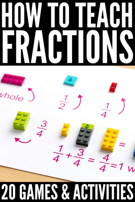 Teaching Fractions to Kids: 20 Math Games and Activities that Work Contrary to popular belief, teaching fractions to kids doesn't need to be difficult, and this collection of fractions games and activities will help! 3rd Grade Fractions, Learning Fractions, Math Fractions, Teaching Math, Dividing Fractions, Equivalent Fractions, Math Math, Grade 3 Math, Third Grade Math Games