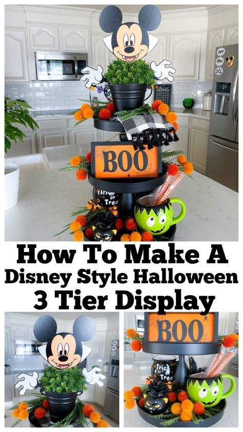 How To Make a Disney Style Halloween 3 Tier Display tiertray tieredtray Mickey Mouse Halloween, Disney Halloween Decorations, Casa Halloween, Halloween Home Decor, Halloween Birthday, Halloween Lanterns, Halloween Crafts, Disney Diy, Disney Crafts