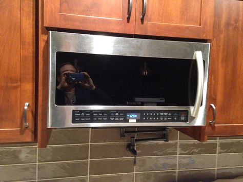 Microwave With Pot Filler Below 1 8 17 Diy Kitchen Cabinets Pot Filler Microwave Above Stove