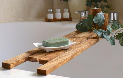 Badewannenablage Aus Olivenholz Dawanda Badewannenablage Holz