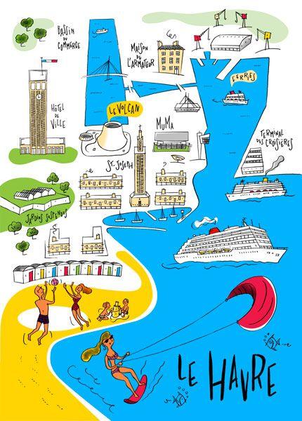 Philippe Doro Plan Illustre De La Ville Du Havre Dessin Pour
