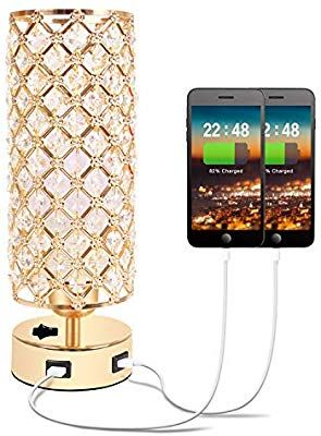 Hong In Gold Crystal Table Lamp With Dual Usb Charging Ports Chic Nightstand Gold Lamp With Clear Crystal Beads Lampshade M In 2020 Crystal Table Lamps Gold Desk Lamps