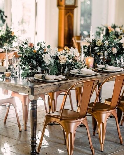 This Autumn Dinner Party Is Simple And Stunning Rose Gold Chairs