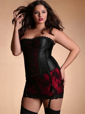 Lace and lust, an entrancing combination. Soft, sensualand simplyravishing.   All Over Lace Short Shaper Skirt with Garters. The perfect complement to your corset or bustier of choice. Wear alone, or for subtle coverage wear under a sheer petticoat or bustle.   Corset, bustle and stockings sold separately.