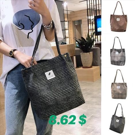 Canvas Shoulder Bag Ladies Black and White Plaid Canvas Shoulder Bag Shopping Bag White Shoulder Strap