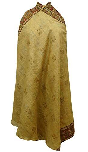 Indianbeautifulart Vintage Saree Stampa di Seta Puro Wrap Donne Reversibile
