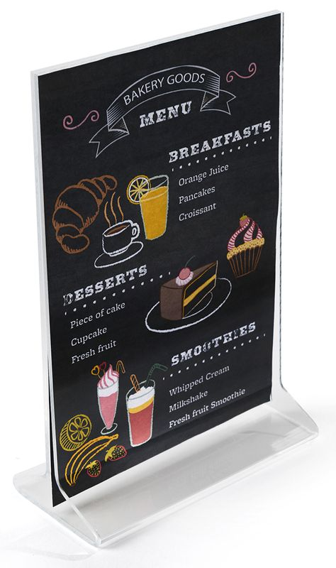 Each table tent is meant for use with 4x6 menu cards or other signage. This acrylic holder is versatile and can be used in most any type of setting. This print frame is 4 wide x 6 high and made of acrylic. This table tent, cheap acrylic frame features an open top design that allows for easy sign changes. To update the display, simply slide the old menu card out through the side and replace with a new image or advertisement. Use this table tent as a double-sided sign holder by inserting two p