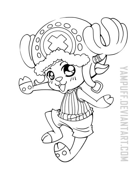Tony Tony Chopper One Piece Lineart Commission By Yampuff