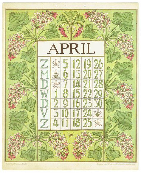 Netty van der Waarden: Bloem en Blad kalender (april 1903)
