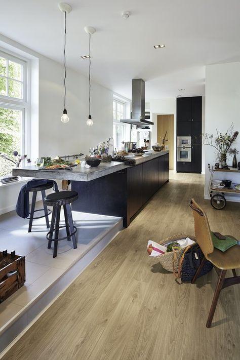 Lindura-Holzboden HD 300 Eiche rustikal lehmgrau 8411 - küche rot hochglanz