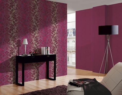 Papel pintado damasco elegante Shabby Chic moderno | Papel pintado ...
