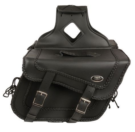b00132c282 LARGE BRAIDED ZIP-OFF PVC THROW OVER SADDLE BAG This 2 strap motorcycle  saddlebag has buckle closures with Velcro backup. A good