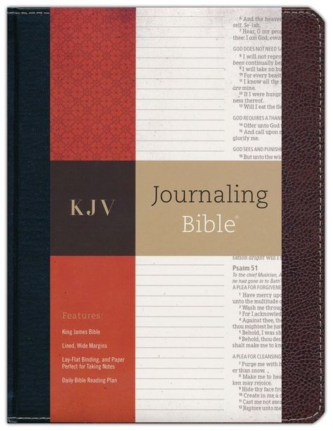 The black/brown bonded leather KJV Journaling Bible has 2 inch