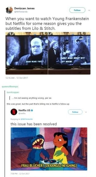 When You Want To Watch Voung Frankenstein But Netfhx For Some Reason Gives You Me Subtitles From Lilo Stwtch Ifunny Lilo And Stitch Memes Netflix Young Frankenstein