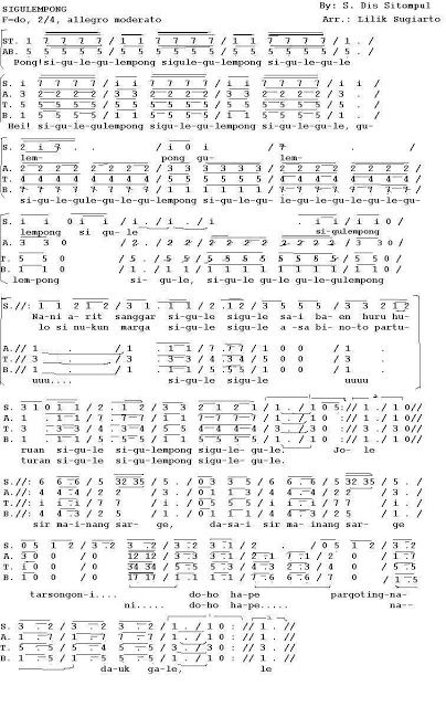 Lirik Lagu Sigulempong : lirik, sigulempong, Hurek, Sigulempong, Sigule-gule, (SATB)