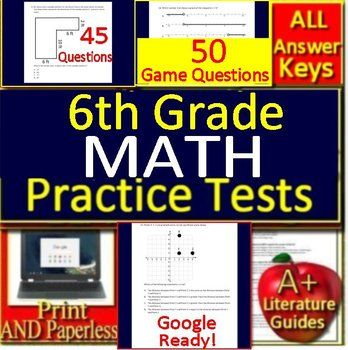 6th Grade Test Prep Math Practice AND Games Bundle Spiral
