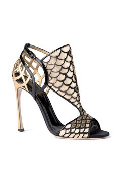 Sergio Rossi Fall 2014 metallic gold sandal with fish scale and spider web design.